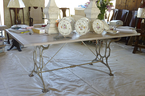 Antique Iron Base Leg Dinning Table.jpg