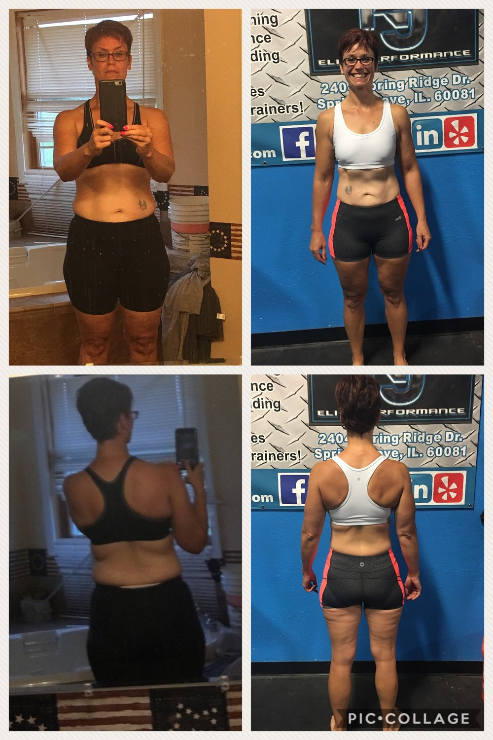 LORI HESS   Lori has been attending NJ Elite Performance since May of 2016. She currently personal trains with Ashley Starr, one of our amazing female trainers here at NJ Elite. Since Lori's training began, she has lost an incredible 22 inches, and she's down 20 pounds!!   In addition to her personal training, Lori also has added nutritional planning with Ashley, and daily bootcamps and spin classes into her fitness repertoire. Lori has an amazing ability to inspire all those around her without even trying.