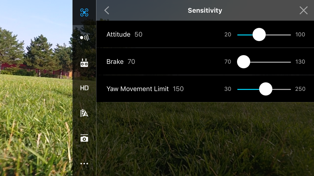 Drone Settings-->Advanced Settings-->Sensitivity