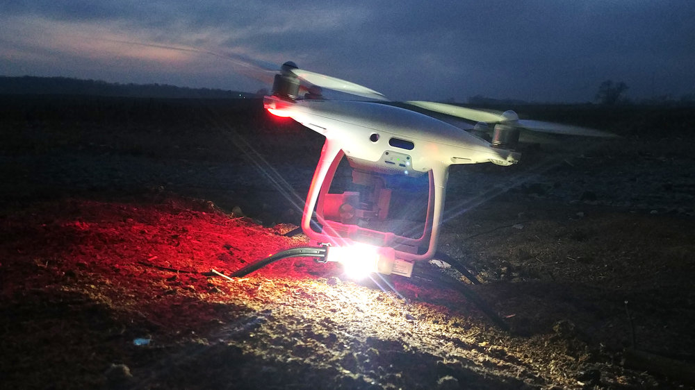 FireFly lighting system installed on DroneRafts base mount system (TerraStrider or WaterStrider)