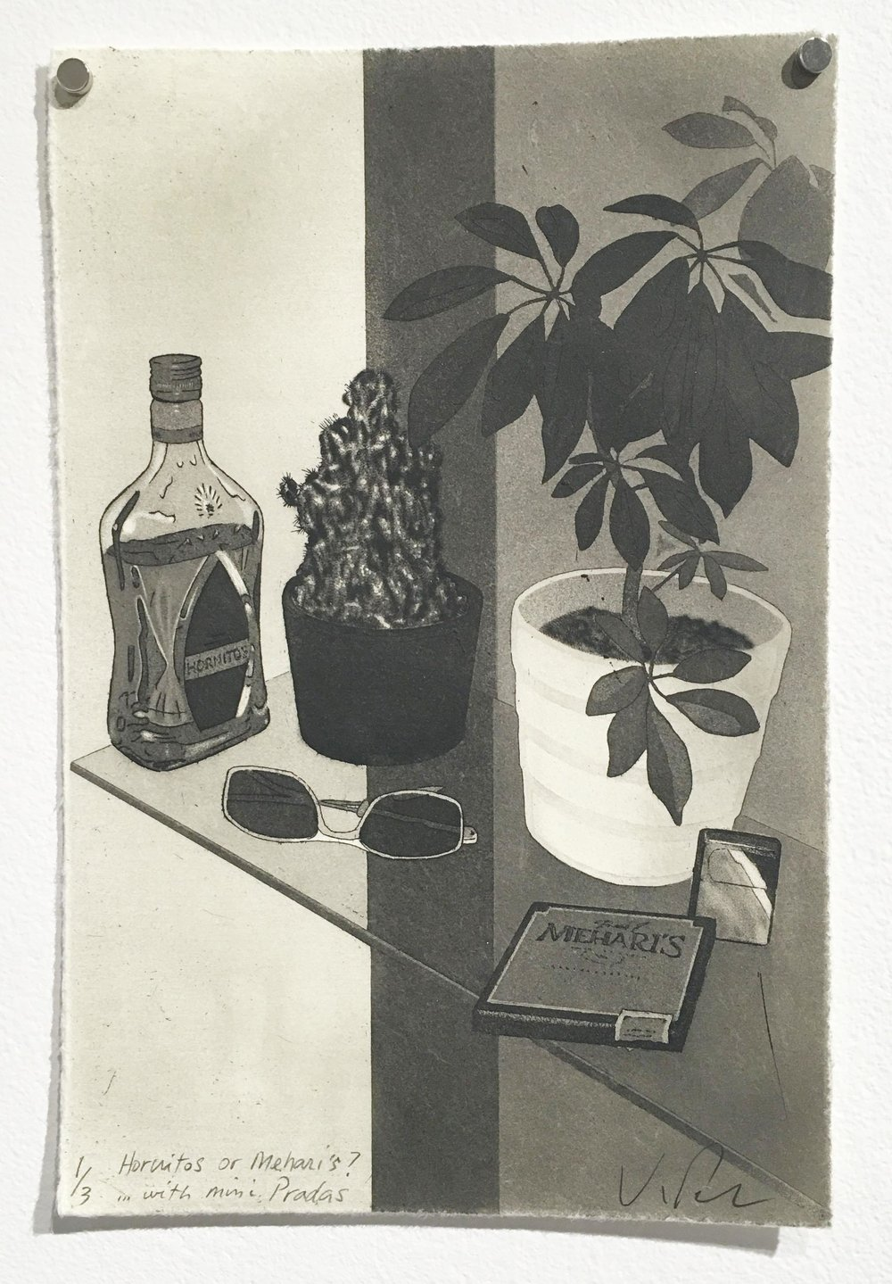 First Prize – Kurt Pammer, Hornitos or Mehari's? in with mini Pradas (2014), aquatint, etching, drypoint
