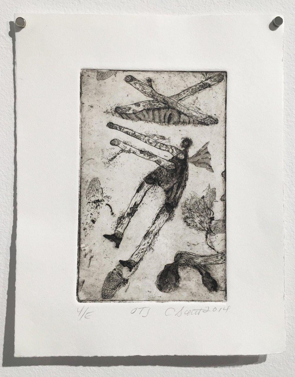Second Prize – Cathy Senitt, OTJ (2014), intaglio