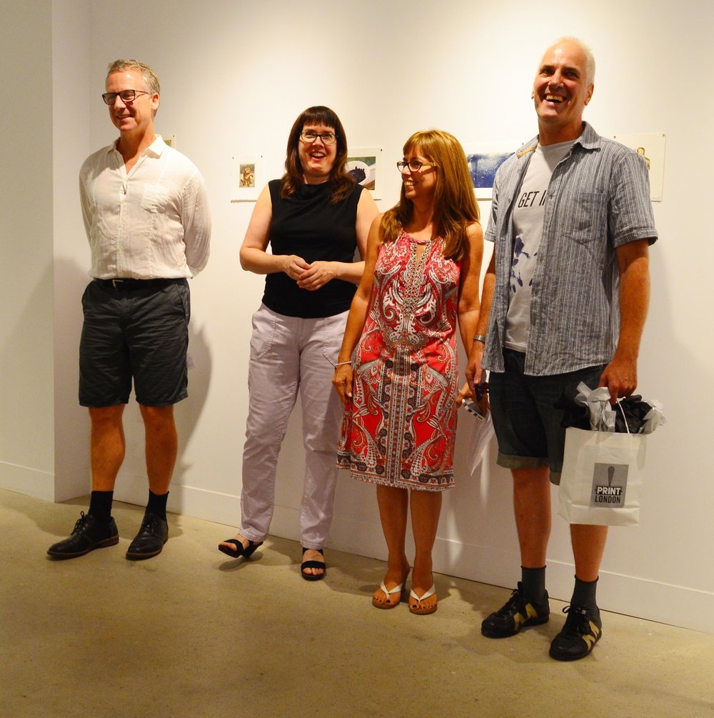 Left to Right:  Patrick Mahon (juror), Cassandra Getty (juror), Joscelyn Gardner (Print London founder), Kurt Pammer (first prize artist), absent from photo - Jenna Faye Powell (juror)