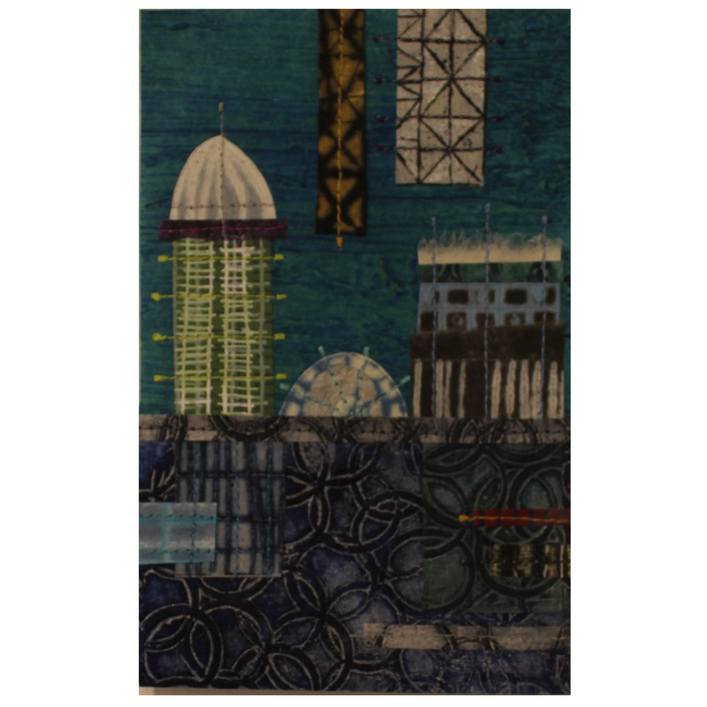 Loree Ovens, Skyline #20, 2016, collagraph, drypoint, screen, stitching
