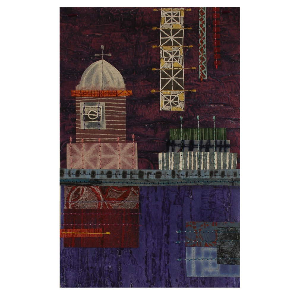 Loree Ovens, Skyline #21, 2016, collagraph, drypoint, screen, stitching