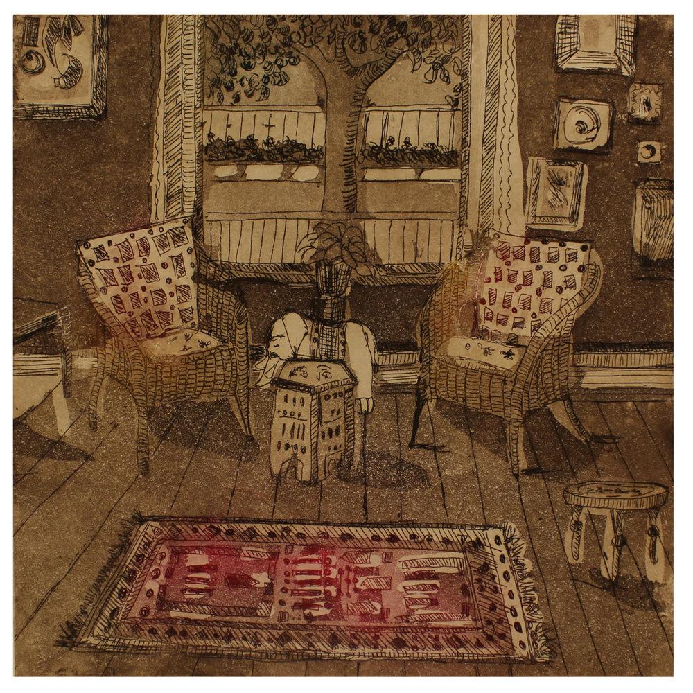 Brenda Fuhrman, Living Room, 2015, intaglio
