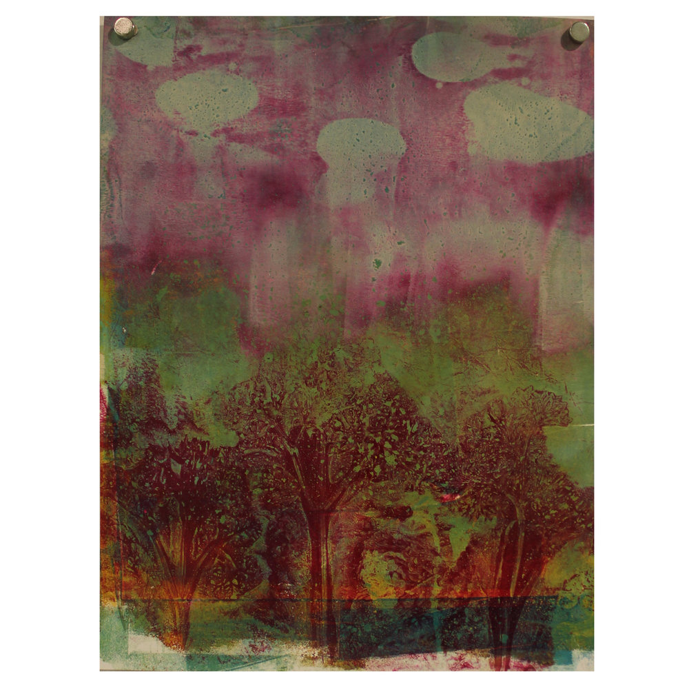 Janet Horne Cozens, Red Forest, 2016, monoprint / acrylic