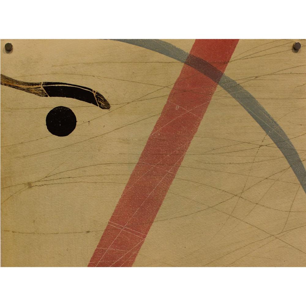 Ann Abbass, Red Line, 2016, monoprint, drypoint, linocut