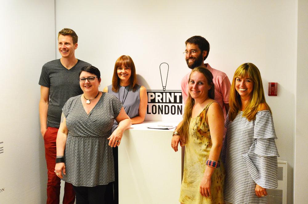 Print London's Steering Committee (L-R): Matthew Trueman, Cindi Talbot, Lori Jensen-Brazier, Eric Mummery, Paulina Szczesny and Joscelyn Gardner