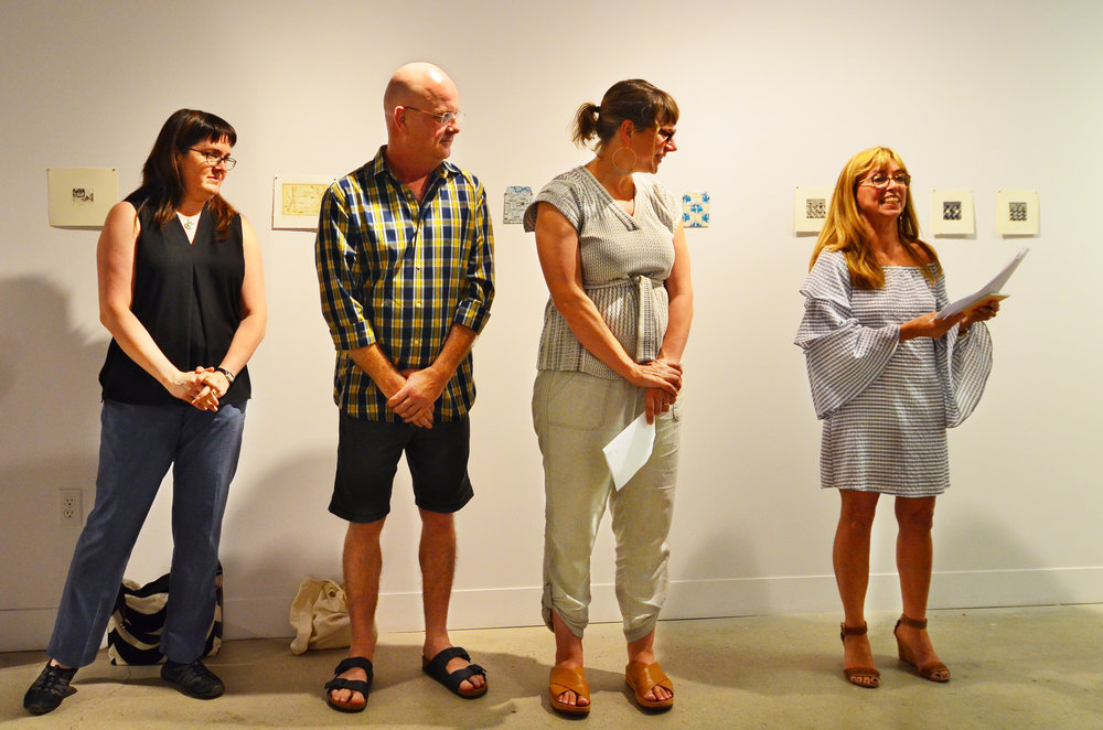 Our Jurors: James Patten, Tara Cooper and Cassandra Getty with Print London founder Joscelyn Gardner