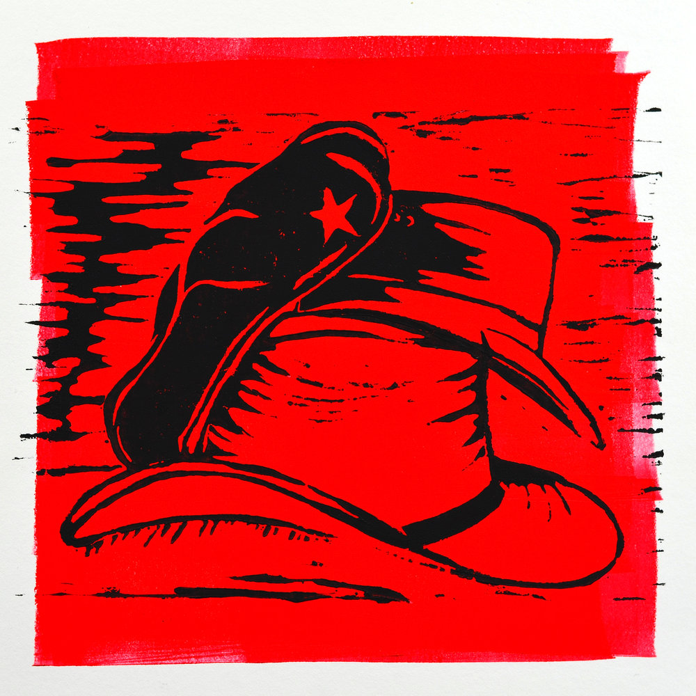Jane Holbrook    Hats of the Revolution   Linocut