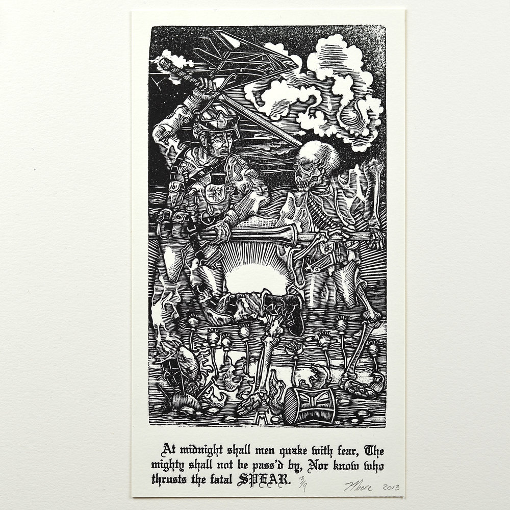 Andrew Moore    The Knight   Wood engraving
