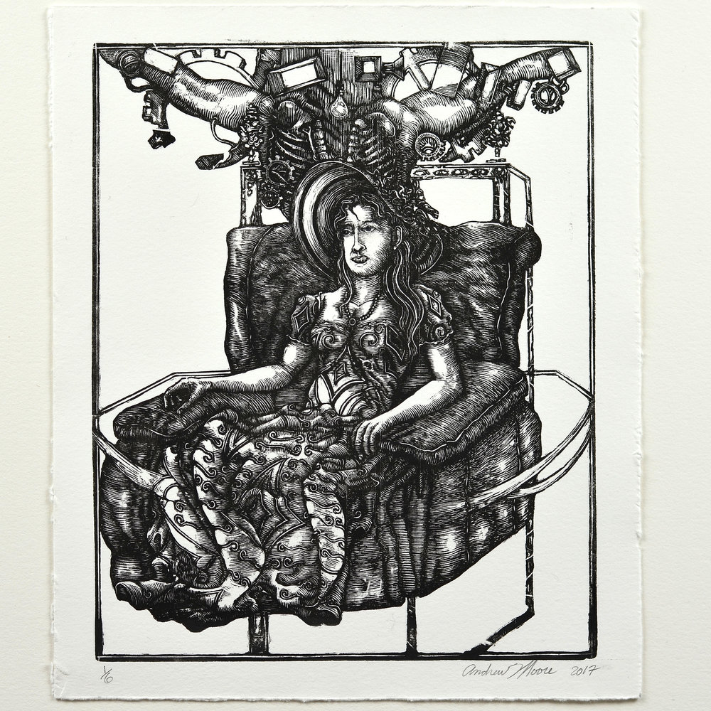 Andrew Moore    Bacon on my Mind   Wood engraving