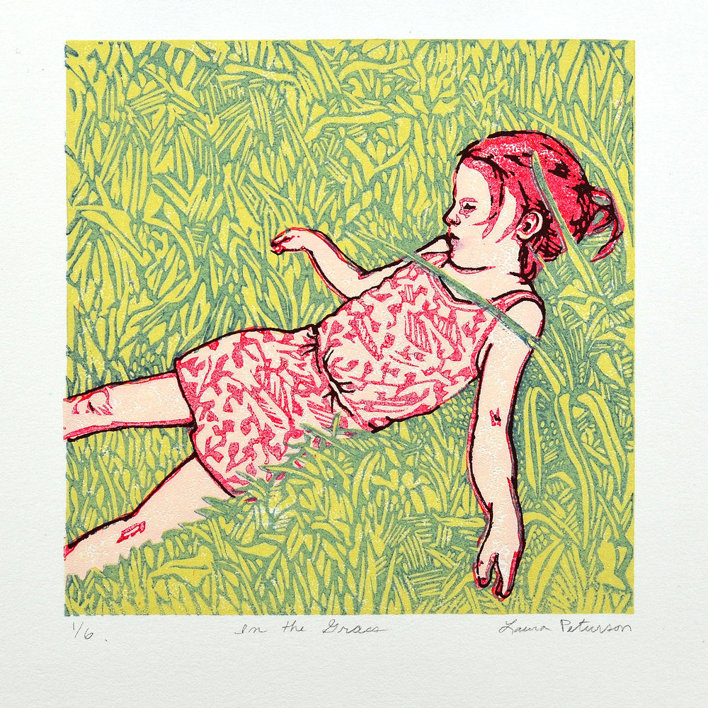Laura Peturson    In the Grass   Linocut & screenprint