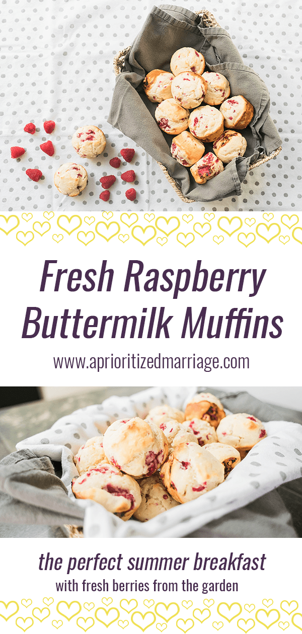 Raspberry Buttermilk Muffins made with raspberries fresh from the garden or farmer's market. Perfect addition to any summer breakfast, a great picnic food or a yummy late night snack.