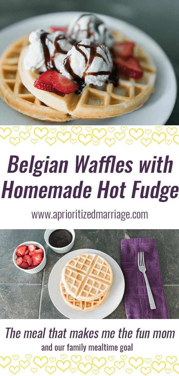 Belgian Waffles with Homemade Hot Fudge Sauce