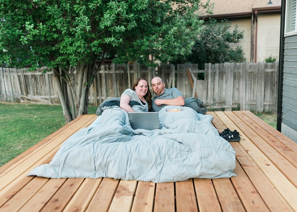 outdoor movie date night at home