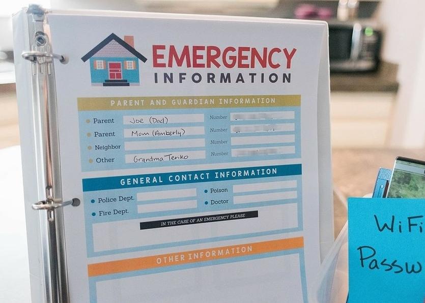 Emergency Information Sheet for Babysitter