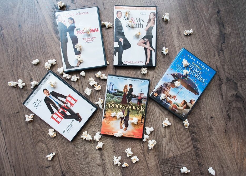 DVDs with popcorn