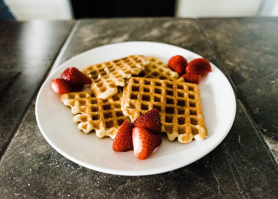 Sour Cream Waffles with Strawberries and Syrup