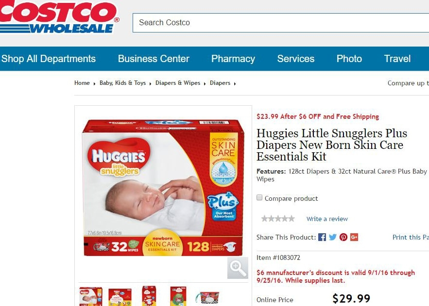 Costco diapers