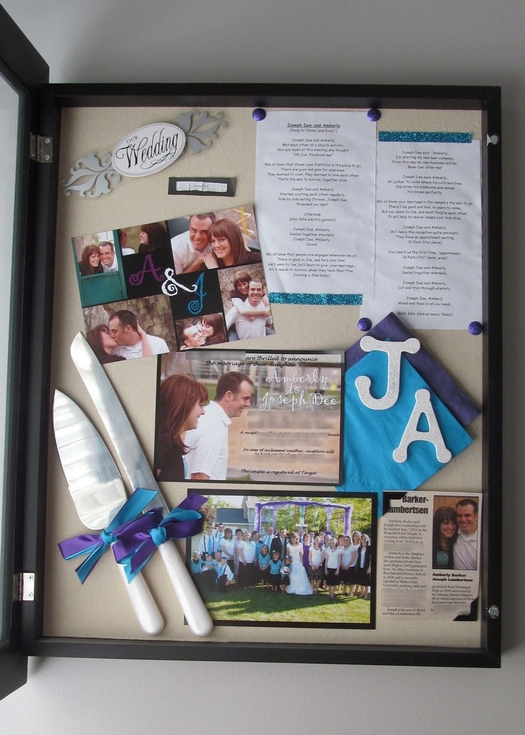 Shadowbox with wedding keepsakes