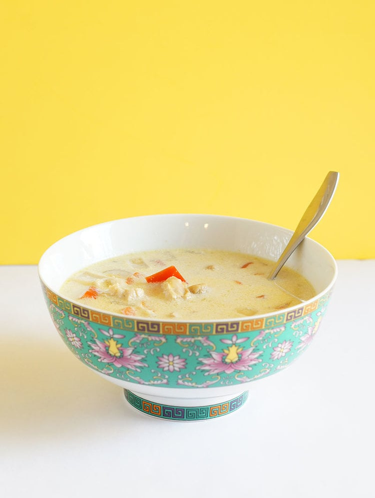 Slow Cooker Thai Curry Chicken Soup with Quick Thai Curry Biscuits