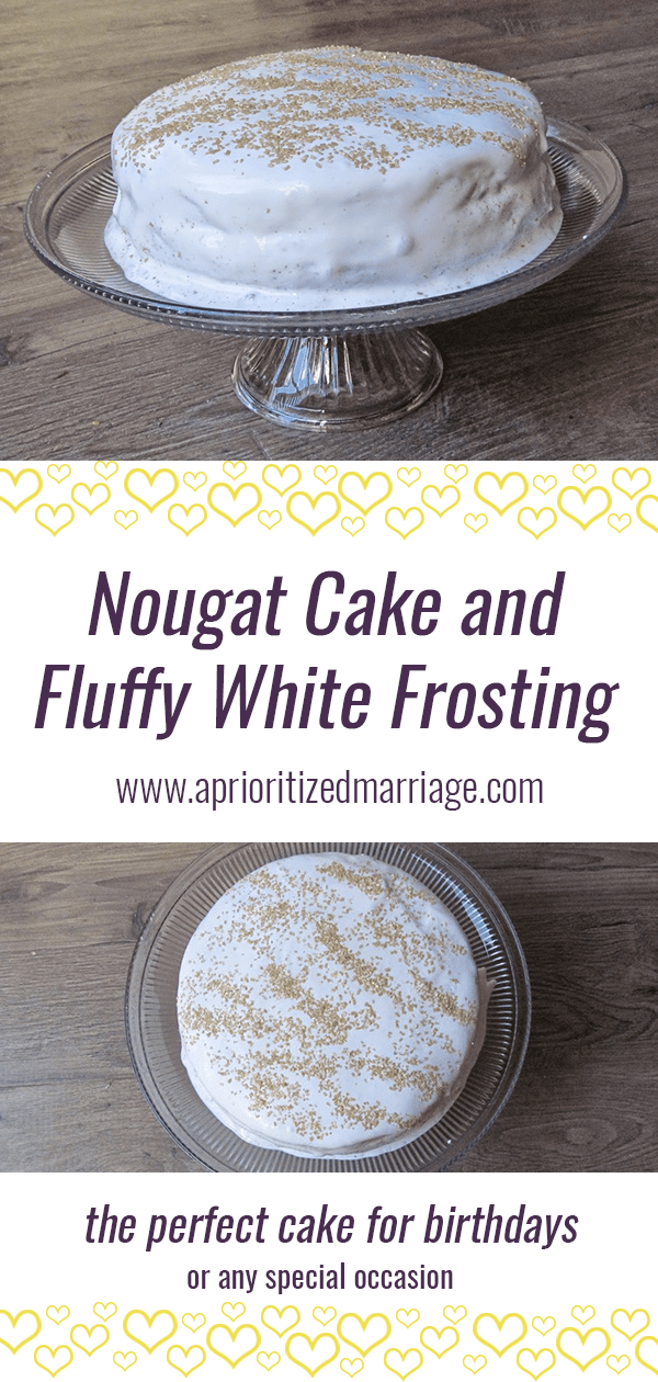 Nougat Cake and Fluffy White Frosting