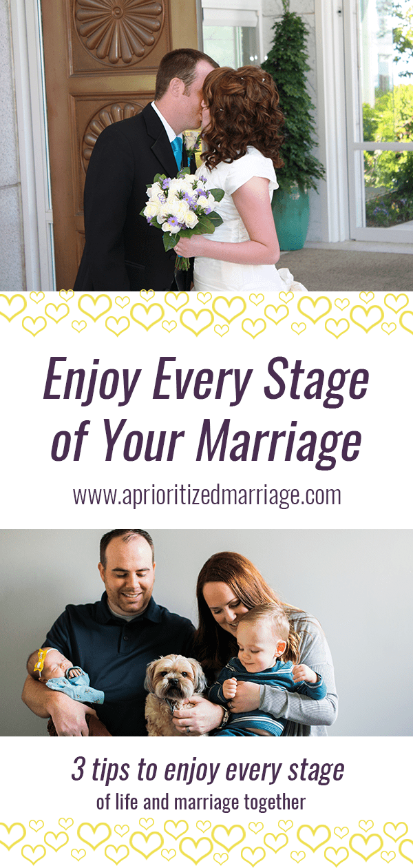 Don't dwell on the things that you miss from past stages, find things to enjoy in the current stage of your marriage.
