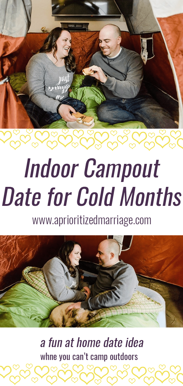 Indoor camping for winter months or couples whose schedule or family situation doesn't allow for real camping excursions. Plus the best indoor s'mores secret in the world!