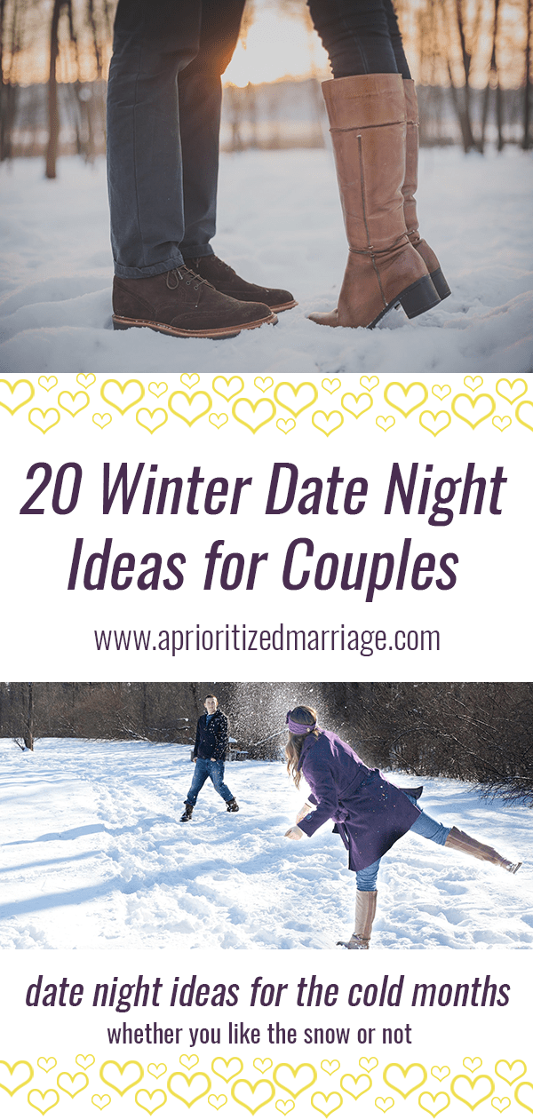 20 winter date night ideas for couples who love the snow and for couples who prefer to stay inside when it's cold out.
