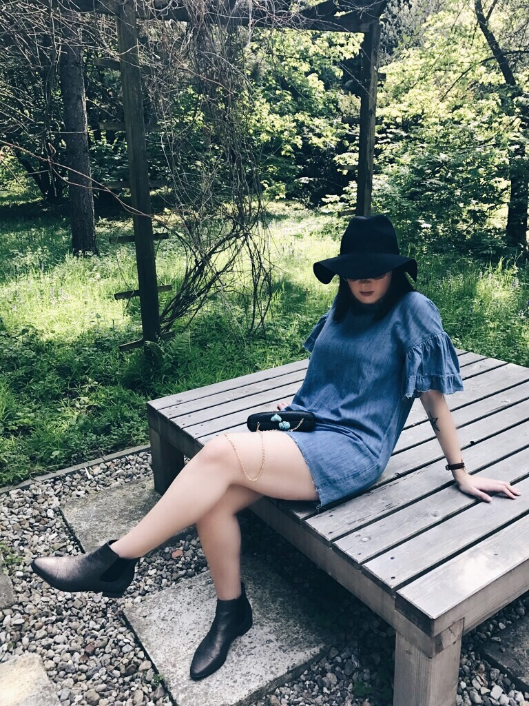 Wearing: Zara denim dress / Topshop fedora hat / Daniel Wellington Classic Petite watch / Emma & Chloé earrings / Calvin Klein ankle boots / Kayu Design bag / Ray-Ban sunglasses