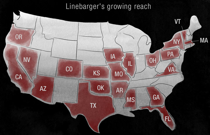 Infographic representing each state Linebarger had influence.