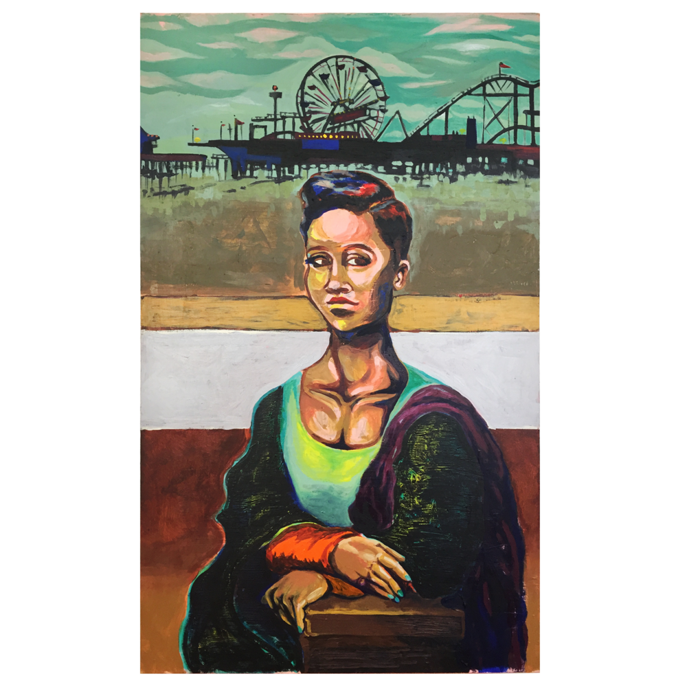 "SANTA MONICA LISA   18""x29"" Acrylic on wood panel  I got the idea for this painting from a play on words I tossed around in my head one day. The piece is my depiction of R&B singer Monica, posed after the Mona Lisa in front of Santa Monica Pier. The color palette is an unexpected juxtaposition of muted greens with areas of vibrant pinks and blue. Her calm pose is contrasted against a carnival-like backdrop."
