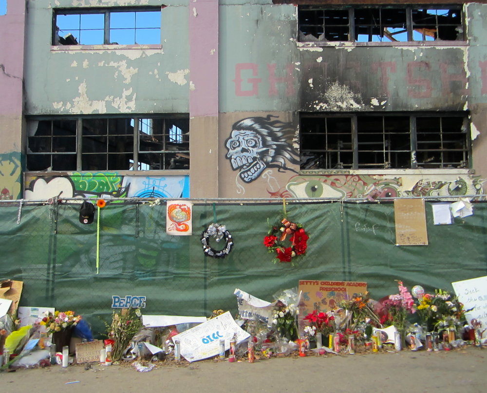 The heartbreaking scene at Ghost ship, the underground artist venue in Oakland, CA. Photo by  Ritu Saheb, Architect, AIA
