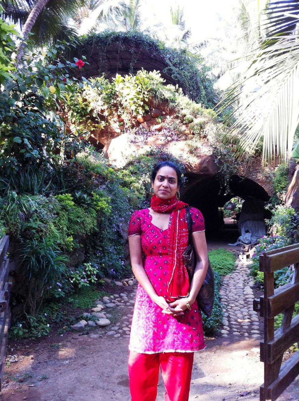 Posing in front of the same  Nari Gandhi bungalow as an American in 2012,  Ritu Saheb, Architect, AIA