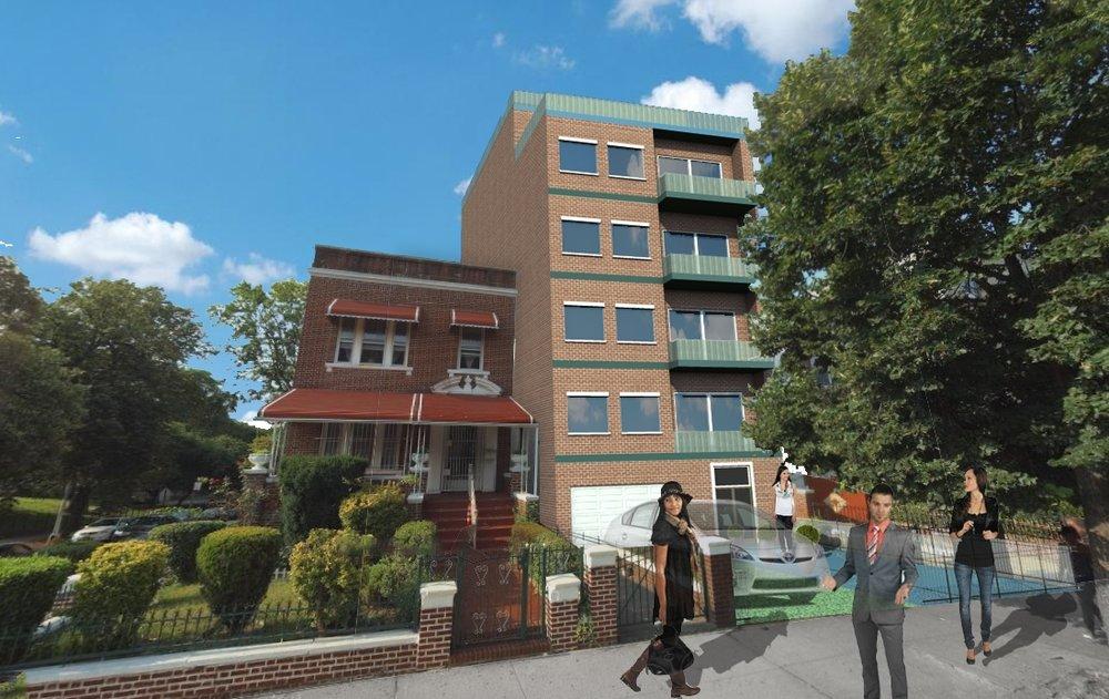Alternate rendering of the same new building in Crown Heights, Brooklyn by  Marios Drakos