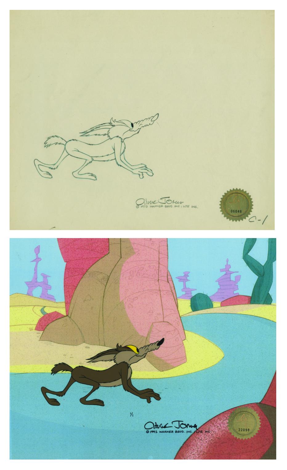 Hand Drawn /& Hand Painted Cel Warner Bros Looney Tunes Coyote /& Rod Runner