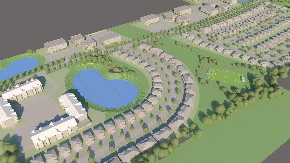 Community Development Modelling - 3D concept model of a new community development.