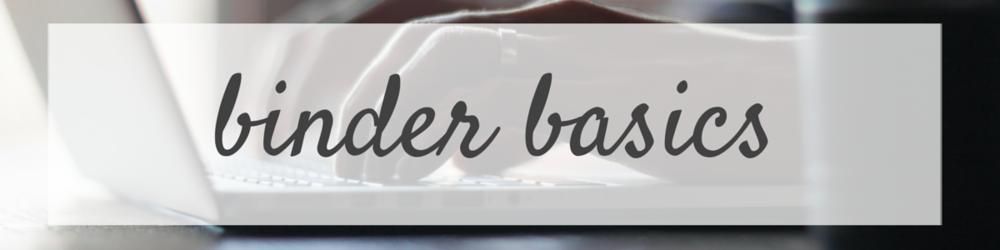 binder basics