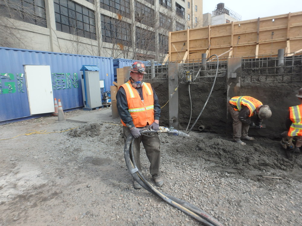 Drakeley Pool Company principal Bill Drakeley pictured with shotcrete equipment.