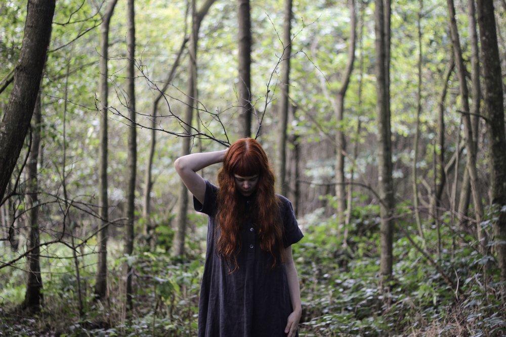 Girl Antlers Woods