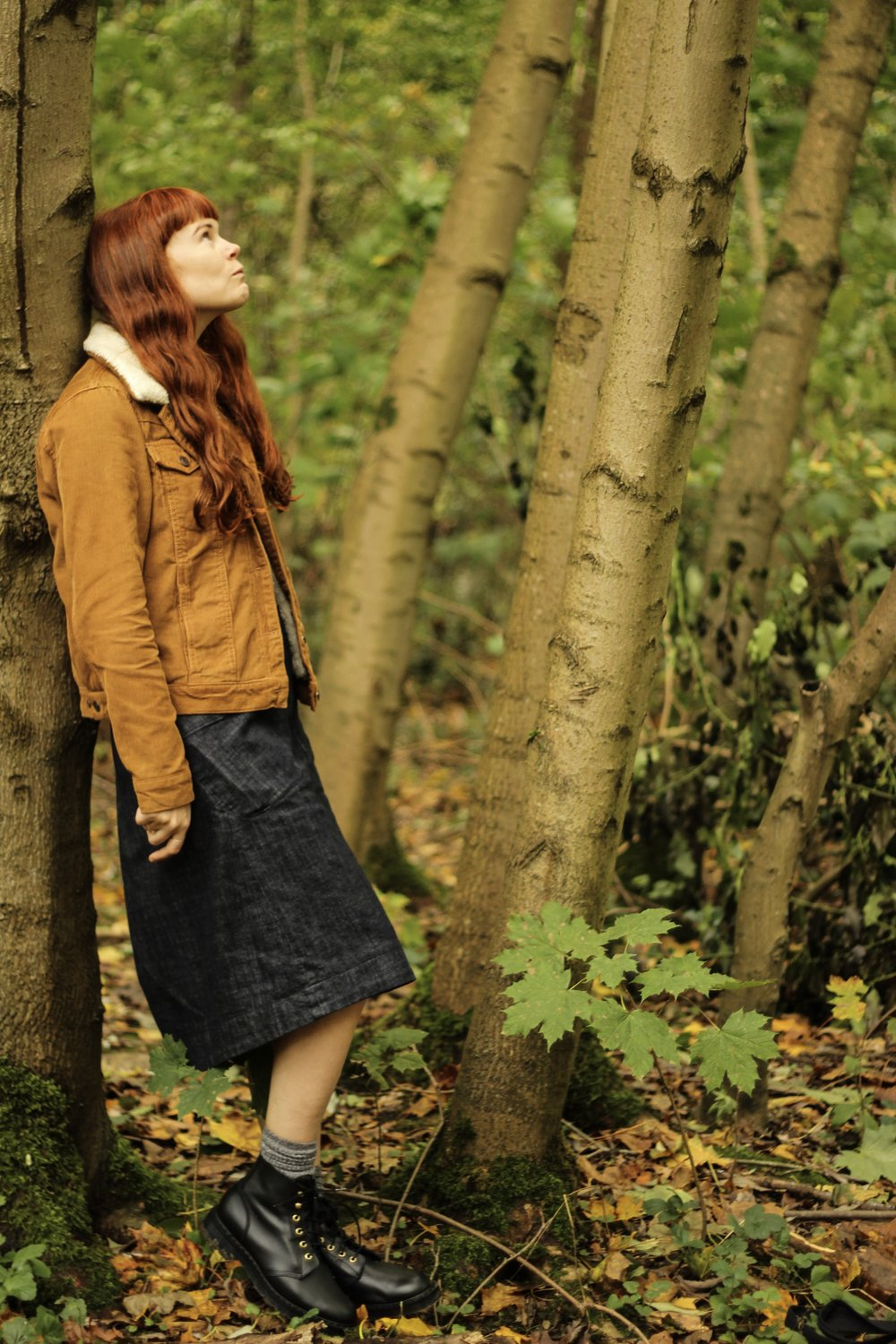 Girl in Woods in Autumn