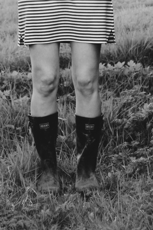 Black and White Girl in Wellies