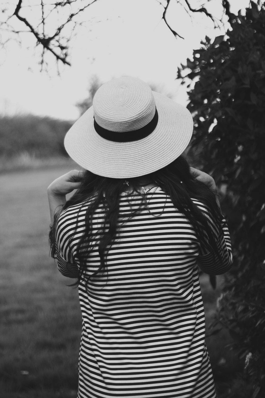 Black and White, Girl, Stripes, Hat