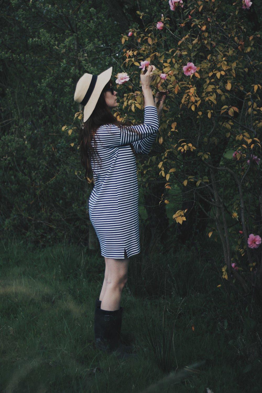 Girl, Garden, Flowers