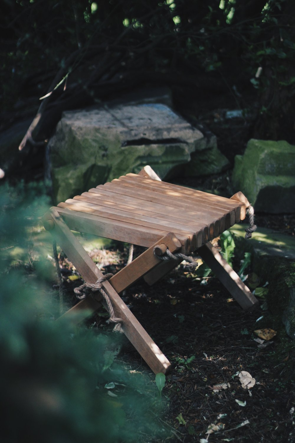 Wooden Stool in the Garden