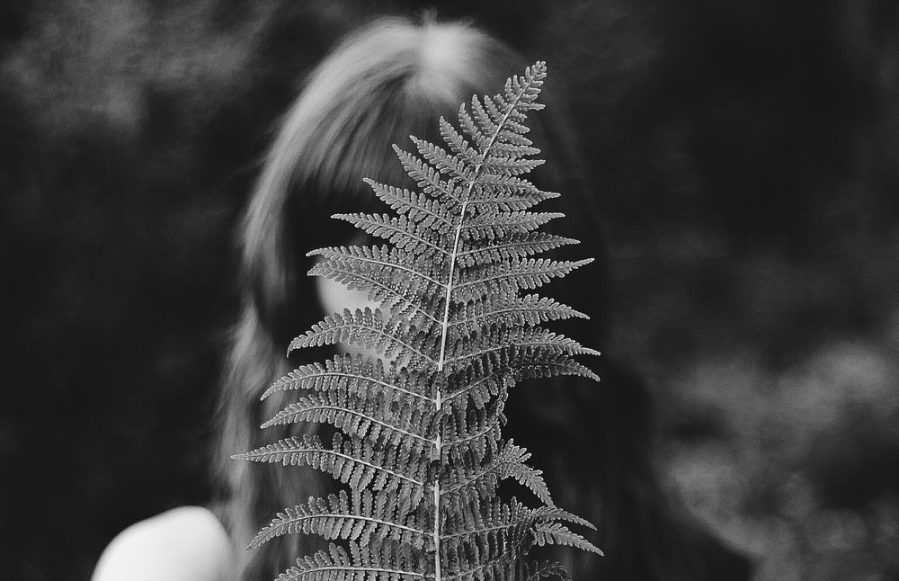 Girl holding fern
