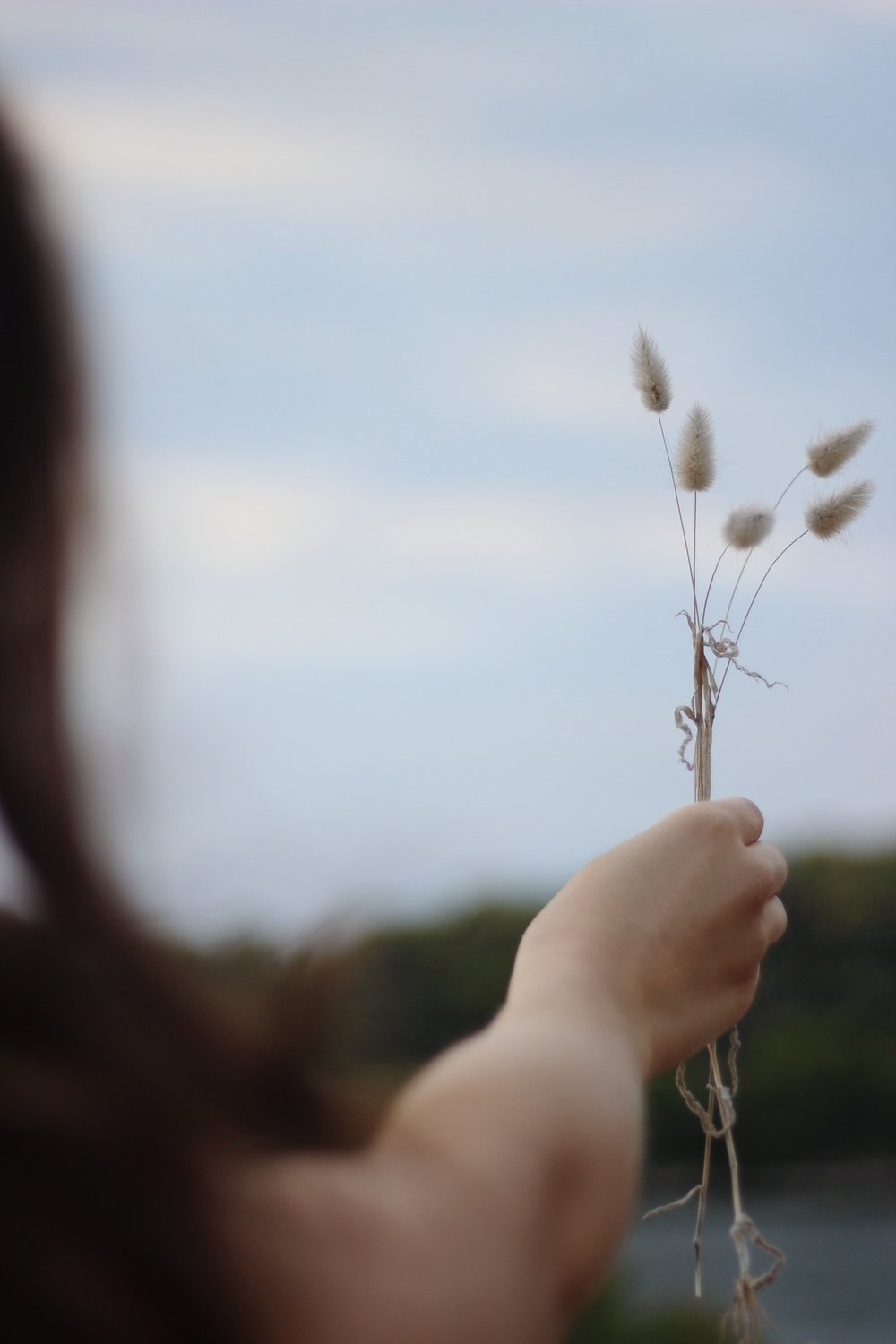 Girl holding dried grass
