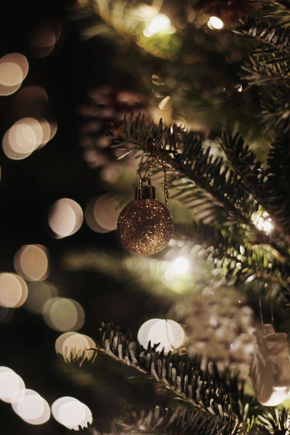 Christmas tree with bokeh and decorations